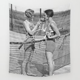 Tennis Players, Black and White Art, Vintage Wall Art Wall Tapestry