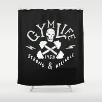 gym Shower Curtains featuring Gym Life  by Textures