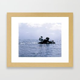 Greenough paddles out with 35mm camera Framed Art Print