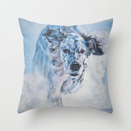 English Setter in Snow dog art from an original painting by L.A.Shepard Throw Pillow