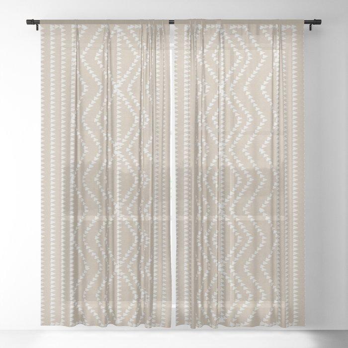 Cream Linen Beige Arrows Pattern Sheer Curtain