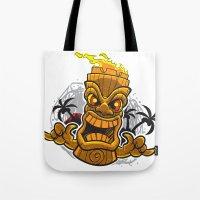 tiki Tote Bags featuring Tiki by Eye Opening Design