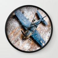 airplane Wall Clocks featuring Airplane by Mauricio Santana