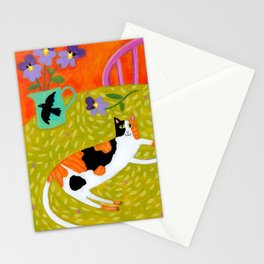 Calico Cat on table reproduction of original painting by Tascha Parkinson Stationery Cards