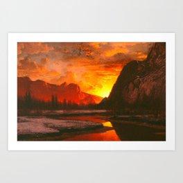 Classical Masterpiece 'Sunset in the Yosemite Valley' by Albert Bierstadt Art Print