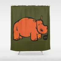 hippo Shower Curtains featuring Hippo by ILINDESIGNS
