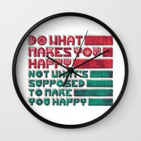be happy Wall Clocks featuring Happy by Hector Mansilla