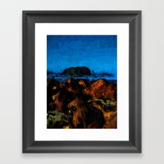 Island and Wild Blue Waves on the Rocks Framed Art Print