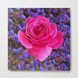 CERISE PINK GARDEN ROSE & PURPLE FLOWERS Metal Print