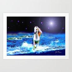 White Horse on the Starry Beach Art Print
