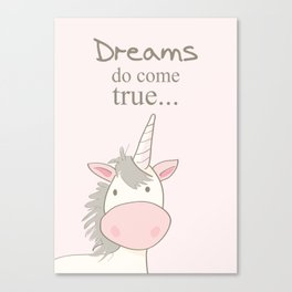 Dreams do come true art print, unicorn print, art for kids, art for baby, kids room decor Canvas Print