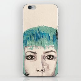 Blue-haired girl with leaves iPhone Skin