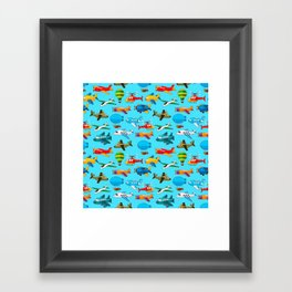 Cute Airplanes Helicopters Airships  Pattern Framed Art Print