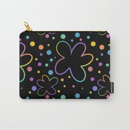 Whimsical Flowers And Dots (Black Background) Carry-All Pouch
