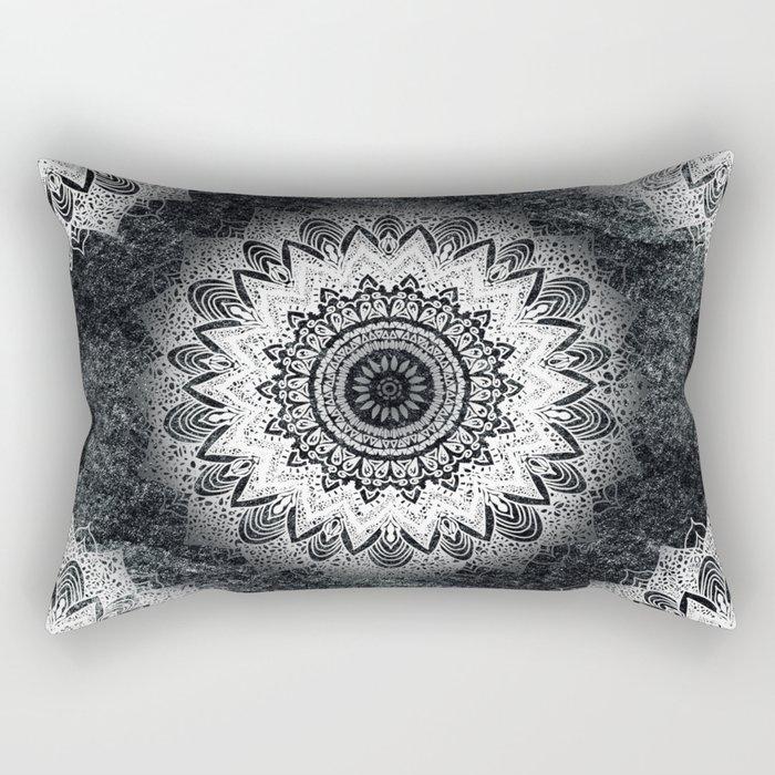 MONOCHROME BOHOCHIC MANDALA Rectangular Pillow