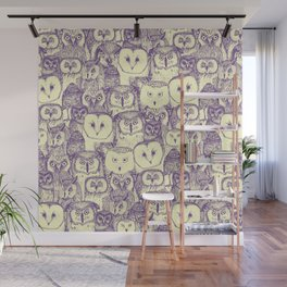 just owls purple cream Wall Mural