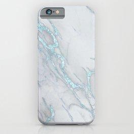 Marble Love Electric Blue Metallic iPhone Case