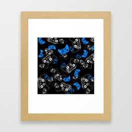 Video Game Blue on Black Framed Art Print