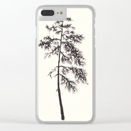 Black ink forest: Pine tree Clear iPhone Case