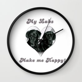 "Lab Love ""My Labs Make me Happy"" Wall Clock"