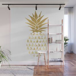 white & gold pineapple Wall Mural