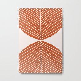 Minimal Fall Leaf Dark Orange Metal Print