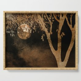 Golden Moon and Tree Serving Tray