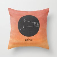 aries Throw Pillows featuring Aries by snaticky