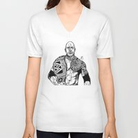 allyson johnson V-neck T-shirts featuring Dwayne 'The Rock' Johnson by Hollie B