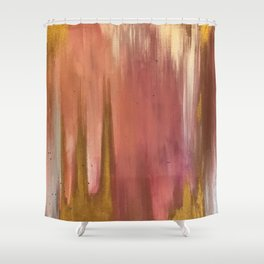 Blush with Gold Abstract Shower Curtain