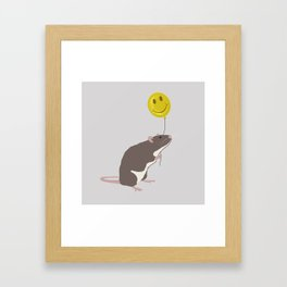 Rat with a Happy Face Balloon Framed Art Print