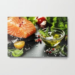 Delicious  portion of fresh salmon fillet Metal Print