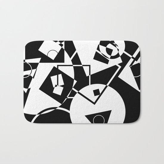 Simply Black And white - Abstract, geometric, retro, black and white random pattern Bath Mat