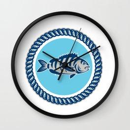 Sheepshead Fish Rope Circle Retro Wall Clock