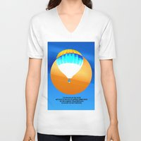 hot air balloon V-neck T-shirts featuring Cold Hot Air Balloon by Annaleta Nichols