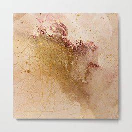 Watercolor Painting Abstract Pink Gold Painting Metal Print