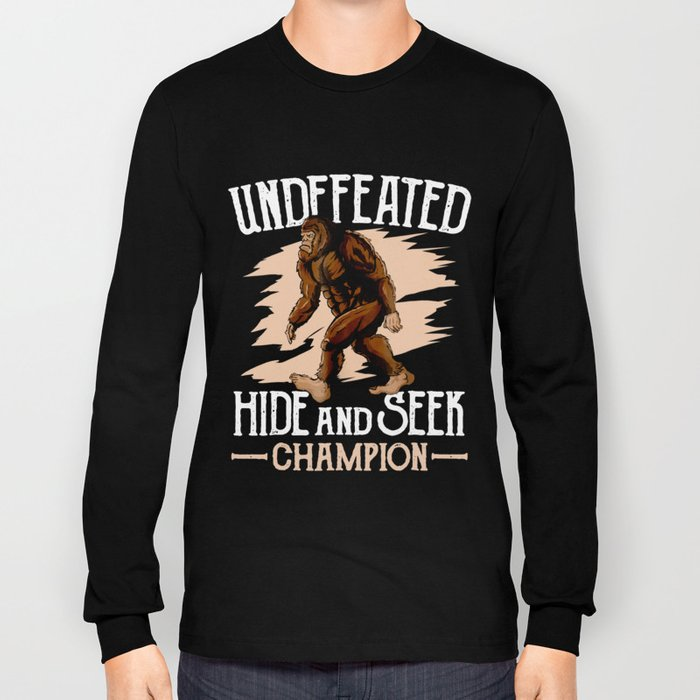 61065aff Funny Undefeated Hide And Seek Champion Bigfoot Tshirt Mens Long Sleeve T- shirt