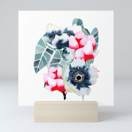 WHITE ANEMONE & MAGNOLIA Mini Art Print