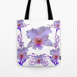 WHITE CATTLEYA ORCHIDS & PURPLE  ART Tote Bag