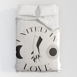 Celestial Black And White Hands Sun Moon United In Love Comforters