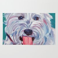 westie Area & Throw Rugs featuring The Westie Kirby Dog Portrait by Barking Dog Creations Studio