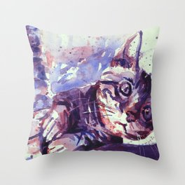 Kitten playing with scratching post colorful watercolor painting kitten artwork Throw Pillow