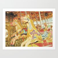 carousel Art Prints featuring Carousel Horse by WhimsyRomance&Fun