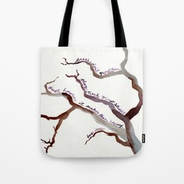 BOB ROSS QUOTE//TREES DON'T GROW EVEN, THEY DON'T GROW STRAIGHT Tote Bag