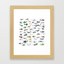 Various Colorful Airplanes and Helicopters Framed Art Print