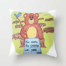 Sad bear & friend Throw Pillow