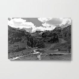 chairlift river kaunertal alps tyrol austria europe black white Metal Print