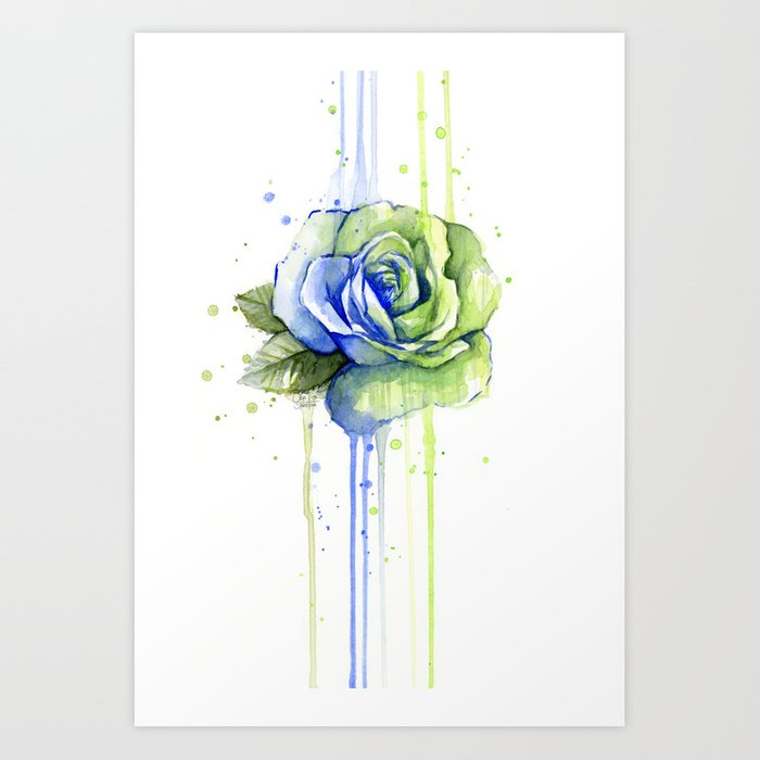 Flower Rose Watercolor Painting 12th Man Art Art Print