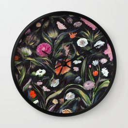Wild flowers at night Wall Clock