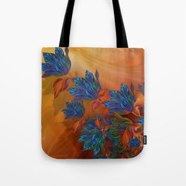 """Blue flowers on orange silk"" (Air Spring at night) Tote Bag"